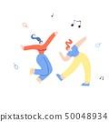 Young Clubbing Dancing Girls Flat Illustration 50048934