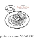 Roasted red pork on rice, hand draw sketch vector. 50048992