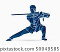 Man with sword action, Kung Fu pose graphic vector 50049585