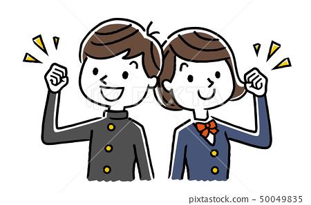 男性和女性學生擺姿勢 50049835