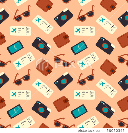 Seamless pattern with camera, ticket, sunglasses 50050343