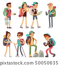 Tourists people characters for hiking and trekking, holiday travel vector concept 50050635