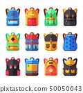 School backpacks vector set. Kids schoolbag flat collection 50050643