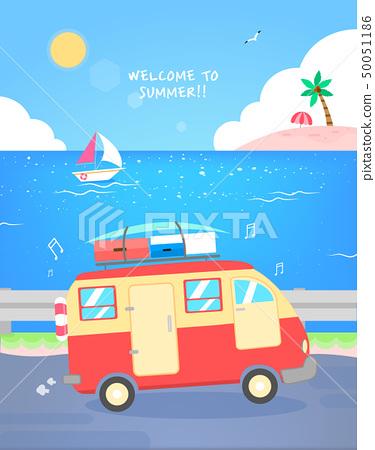 愉快的夏天旅行例證 50051186