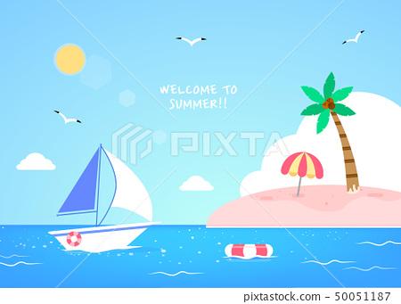 愉快的夏天旅行例證 50051187