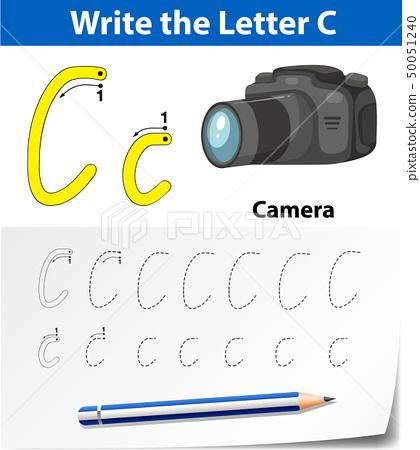 Letter C Tracing Alphabet Worksheets - Stock Illustration [50051240] - PIXTA