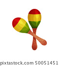 Maracas made of wood. National musical instrument. Vector illustration. 50051451