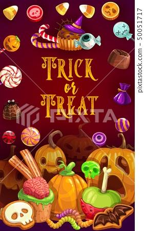 Halloween sweets, chocolate, caramel snack treats 50051717