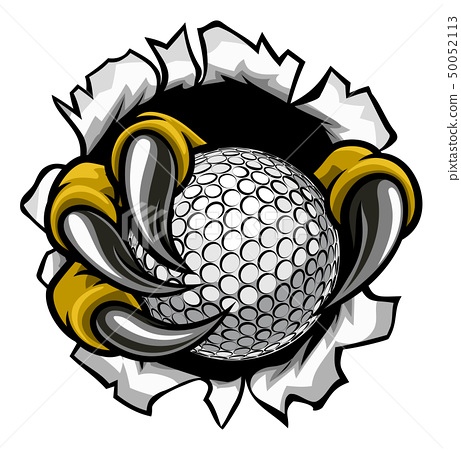 Golf Ball Eagle Claw Talons Ripping Background 50052113