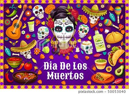 Dia de los Muertos Mexican skulls and fiesta food 50053040