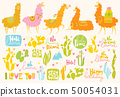Set of lama, cactuses and funny design elements.  50054031