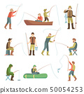 Fisherman flat icons. Fishing people with fish and equipment vector set 50054253