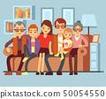Happy family sitting on sofa. Grandpa and grandma, parents and kids flat vector illustration 50054550