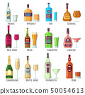 Alcoholic drinks in bottles and glasses flat vector icons set 50054613
