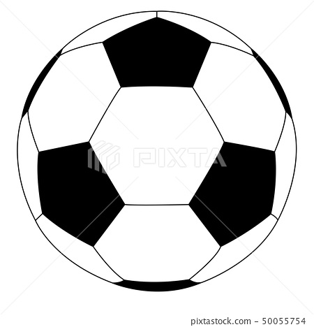 Soccer ball. Black and white flat icon 50055754