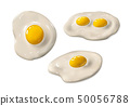 Fried egg set. Fast food. Cooked omelet. Scrambled eggs. Isolated white background. 50056788