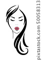 woman head with long hair and pink lips 50058313