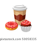 Illustration with fast food meal. Coffee, muffin and donut. 50058335