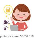 컴퓨터를 조작하는 여성 / 바이러스 백신 50059019