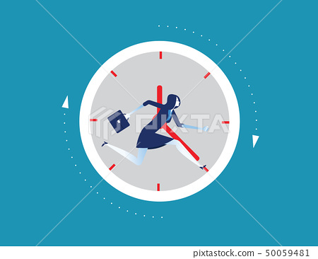 Businesswoman running away in clock. Concept 50059481