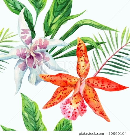 orange and white orchid palm leaves watercolor 50060104