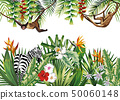 Tropical illustration with flowers plants monkey 50060148