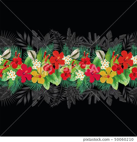 Flowers leaves decorative strip black background 50060210