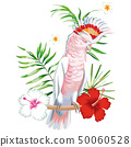 Parrot ara with tropical plants and flowers white 50060528