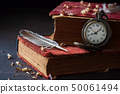 Winding pocket watch on old books with feathers. 50061494
