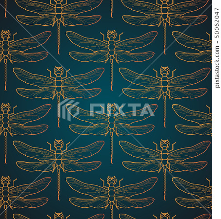 Dragonfly pattern seamless vector illustration. Insect pattern background gold. Vintage romantic 50062047