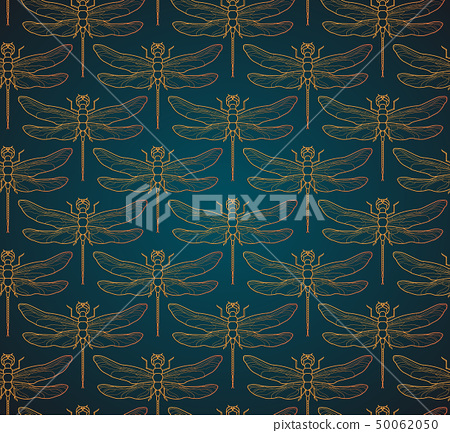 Dragonfly pattern seamless vector illustration. Insect pattern background gold. Vintage romantic 50062050