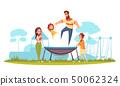 Family Active Holidays Trampoline Illustration 50062324