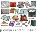 Study school books, science items, sketch 50064415