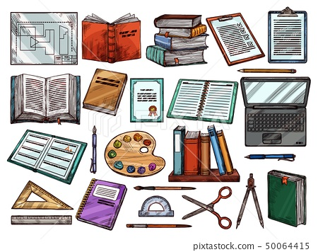 Study school books, science items, sketch 50064415