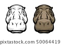 Hippopotamus, hippo wild African animal face icon 50064419