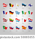 vector set of waving flags eurozone on silver pole 50065055