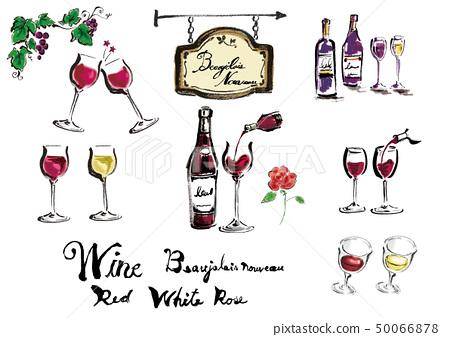 와인 와인 잔 벡터 레드 와인 화이트 와인 세트 와인 세트 일러스트 알콜 50066878