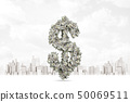 3d close-up rendering of dollar symbol made up of dollar banknotes with modern city on background. 50069511