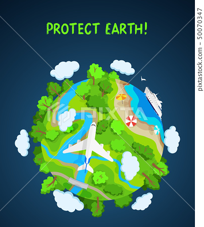 Earth protect concept, planet globe with trees, rivers and clouds 50070347
