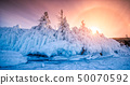 Tree covered with ice and snow at sunset in the 50070592