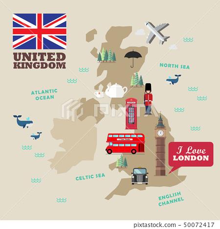 United kingdom national symbols with map 50072417