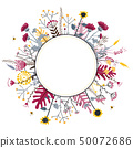 Round flower doodles wreath hand drawn isolated on white for greeting card or text, vector 50072686