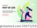 Beautiful woman running on treadmill 50073259