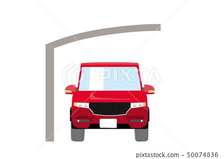 귀여운 자동차와 자동차 포트 일러스트 차량 정면 크로스 오버 SUV | 주차장 지붕 흰색 배경 | 벡터 데이터 50074836