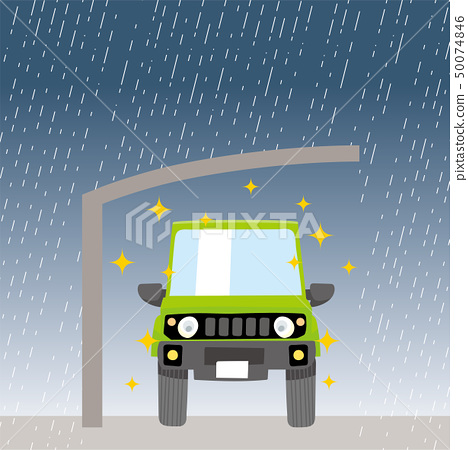 Illustration of cute car and carport Car front   Rain measures Parking roof   Four-wheel drive 50074846