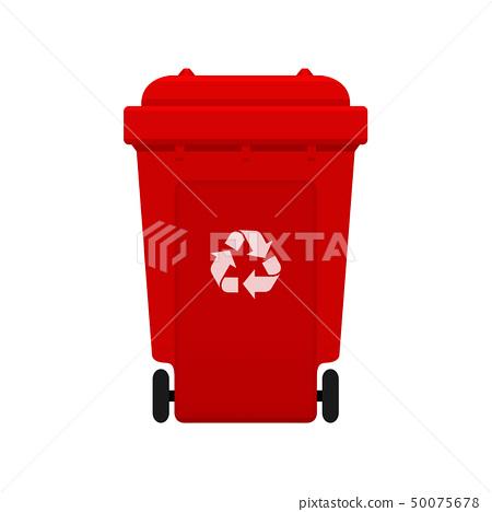 Bin, Recycle plastic red wheelie bin for waste 50075678