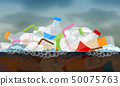 illustration plastic waste float on the water 50075763