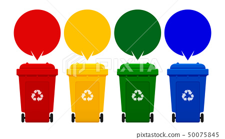 four colorful recycle bins isolated on white 50075845