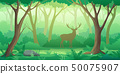 Forest landscape background with trees and deer silhouette in flat style 50075907