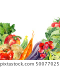 Watercolor painted collection of vegetables. Fresh colorful veggies background 50077025